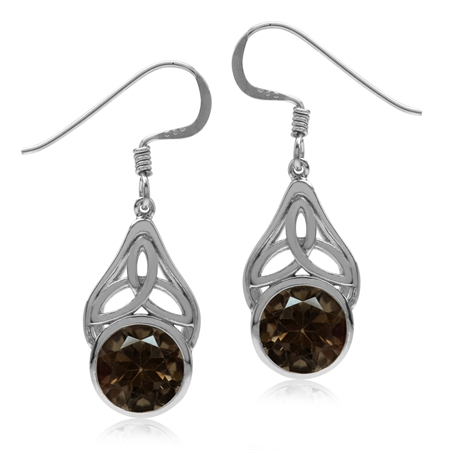 3.58ct. Natural Smoky Quartz 925 Sterling Silver Triquetra Celtic Knot Dangle Hook Earrings