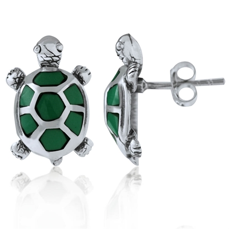 Created Malachite 925 Sterling Silver TURTLE Post Earrings