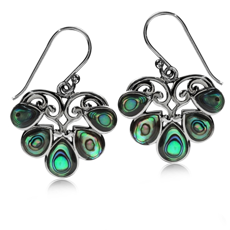 Abalone/Paua Shell 925 Sterling Silver Heart Victorian Style Dangle Hook Earrings