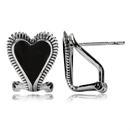 Created Black Onyx 925 Sterling Silver Heart Omega Clip Earrings