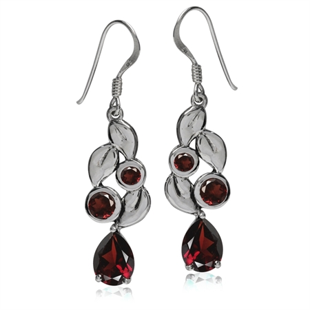 3.7ct. Natural Garnet 925 Sterling Silver Leaf Dangle Hook Earrings