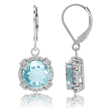 8.8ct. 10MM Genuine Round Shape Blue Topaz White Gold Plated 925 Sterling Silver Leverback Earrings