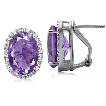 10.72ct. Classic Amethyst & Topaz 925 Sterling Silver Omega Clip Post Earrings