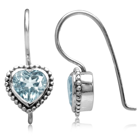 2.16ct. Genuine Heart Shape Blue Topaz 925 Sterling Silver Bali/Balinese Style Hook Earrings