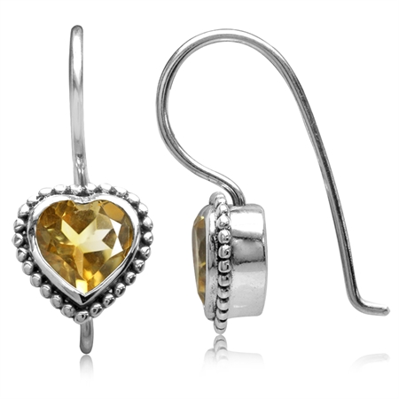 1.16ct. Natural Heart Shape Citrine 925 Sterling Silver Bali/Balinese Style Hook Earrings