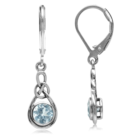 1.1ct Genuine Blue Topaz 925 Sterling Silver Celtic Knot Drop Leverback Earrings