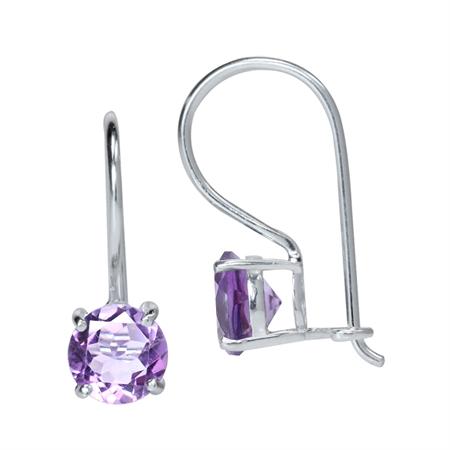 1.6ct. Natural Amethyst 925 Sterling Silver Hook Earrings