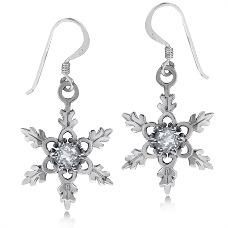 Genuine White Topaz 925 Sterling Silver Snowflake Dangle Hook Earrings