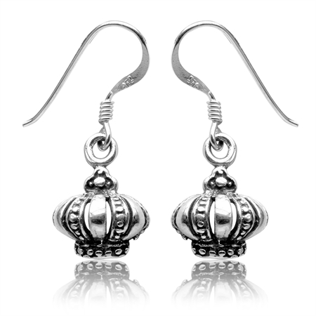 925 Sterling Silver Royal Crown Dangle Earrings