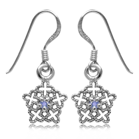 Genuine Tanzanite White Gold Plated 925 Sterling Silver Filigree Snowflake Dangle Earrings
