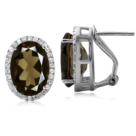 10.44ct. Classic Smoky Quartz & Topaz Sterling Silver Omega Clip Post Earrings
