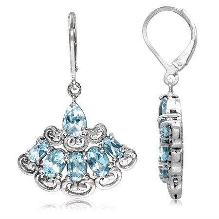6.48ct. Genuine Blue Topaz 925 Sterling Silver Victorian Style Fan Shape Leverback Earrings