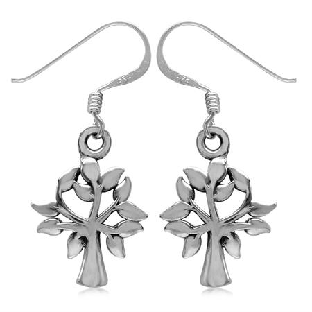 925 Sterling Silver Tree of Life Dangle Hook Earrings