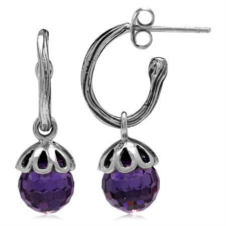 Amethyst Purple CZ Sphere Ball Balinese 925 Sterling Silver Dangle Hoop Earrings