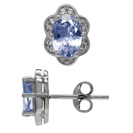 1.46ct. Genuine Tanzanite White Gold Plated 925 Sterling Silver Flower Post Earrings