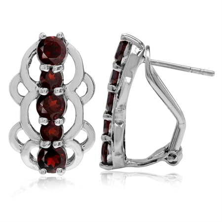 2.62ct. 5-Stone Natural Garnet 925 Sterling Silver Filigree Earrings w/ Omega Backings