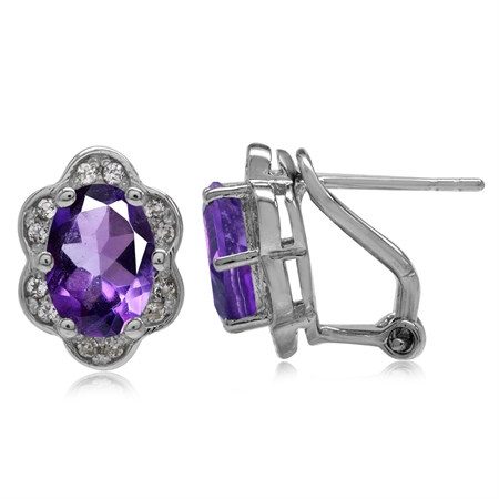 3.2ct. Natural African Amethyst Gold Plated 925 Sterling Silver Flower Omega Clip Post Earrings
