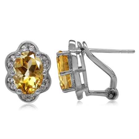 3.78ct. Natural Yellow Citrine White Gold Plated 925 Sterling Silver Flower Omega Clip Post Earrings