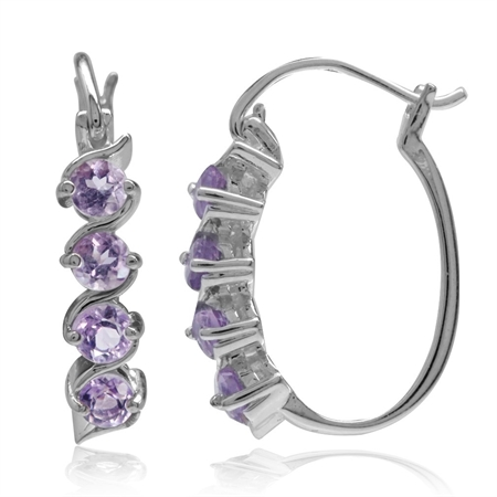 Natural Amethyst White Gold Plated 925 Sterling Silver Journey Hoop Earrings