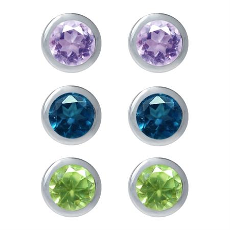3-Pair Petite 3MM Genuine Amethyst, Peridot&London Blue Topaz 925 Sterling Silver Stud Earrings Set