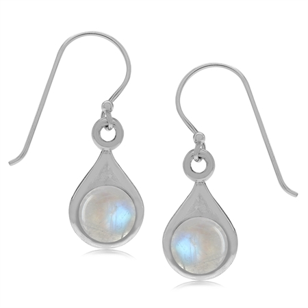 Natural Moonstone 925 Sterling Silver Drop Shape Dangle Hook Earrings