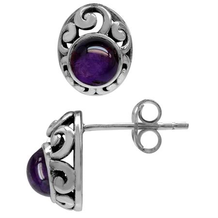 Petite Cabochon Amethyst 925 Sterling Silver Southwest Style Filigree Stud Earrings