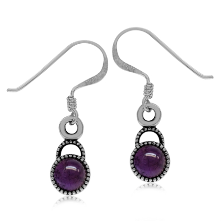 Petite Cabochon Amethyst 925 Sterling Silver Balinese Style Dangle Earrings