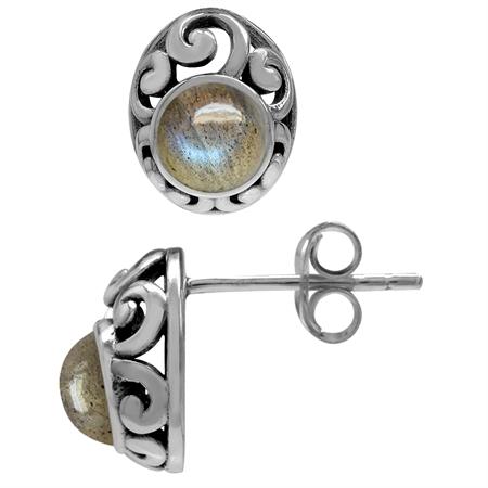 Petite Labradorite 925 Sterling Silver Southwest Style Filigree Stud Earrings