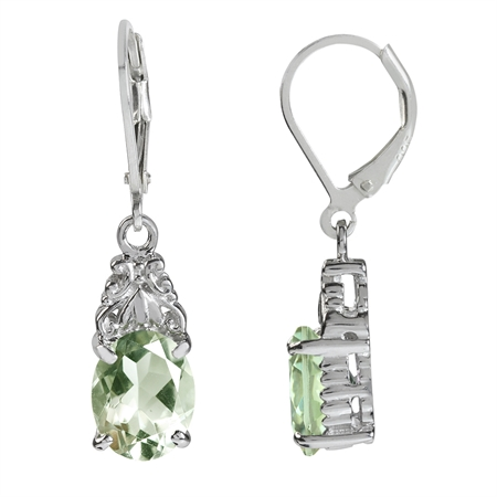 4.56ct. Natural Green Amethyst White Gold Plated 925 Sterling Silver Leverback Dangle Earrings