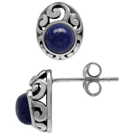 Petite Genuine Lapis 925 Sterling Silver Southwest Style Filigree Stud Earrings