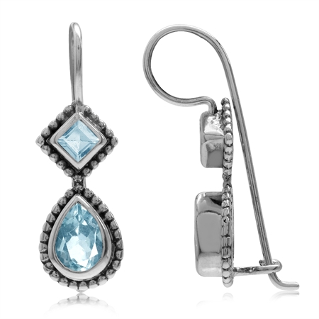 1.92ct. Genuine Blue Topaz Antique Finish 925 Sterling Silver Balinese Hook Earrings