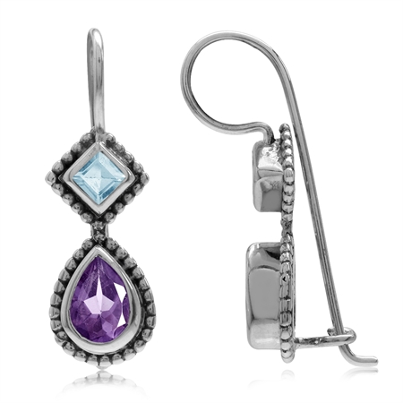 1.24ct. Natural African Amethyst & Blue Topaz 925 Sterling Silver Bali/Balinese Style Hook Earrings