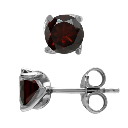 1.92ct. 6MM Natural Garnet White Gold Plated 925 Sterling Silver Stud Earrings