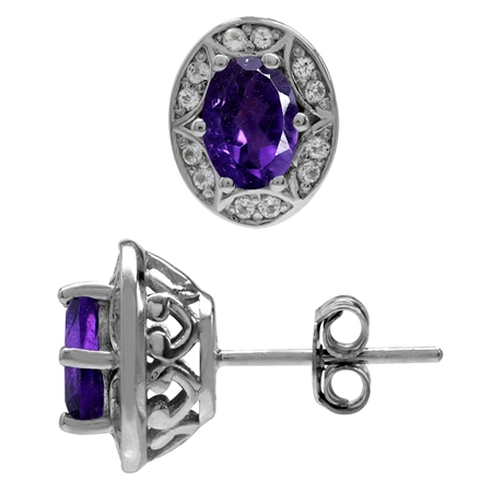 1.42ct. Natural African Amethyst 925 Sterling Silver Sun Ray Inspired Filigree Earrings