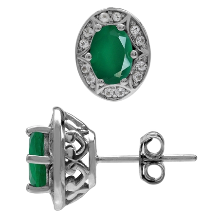 1.32ct. Emerald Green Agate 925 Sterling Silver Sun Ray Inspired Filigree Earrings
