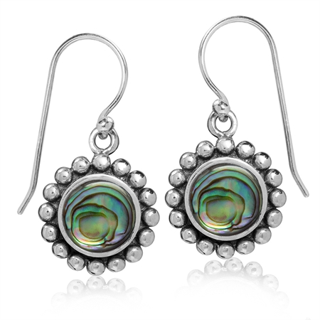 8MM Puau/Abalone Shell 925 Sterling Silver Balinese Dangle Hook Earrings