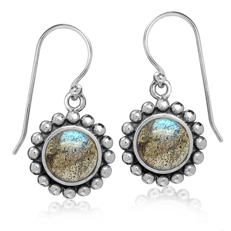8MM Natural Labradorite 925 Sterling Silver Bali/Balinese Style Dangle Hook Earrings