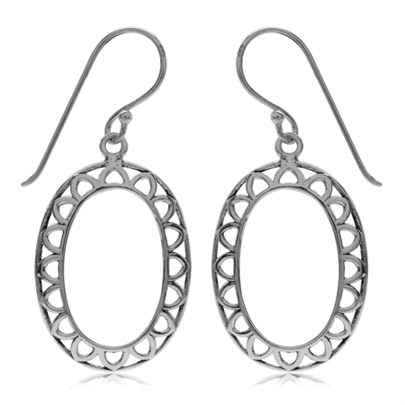 Antique Finish 925 Sterling Silver Filigree Drop Earrings