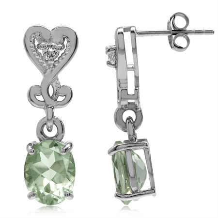 3.28ct. Natural Green Amethyst 925 Sterling Silver Heart Victorian Style Dangle Post Earrings