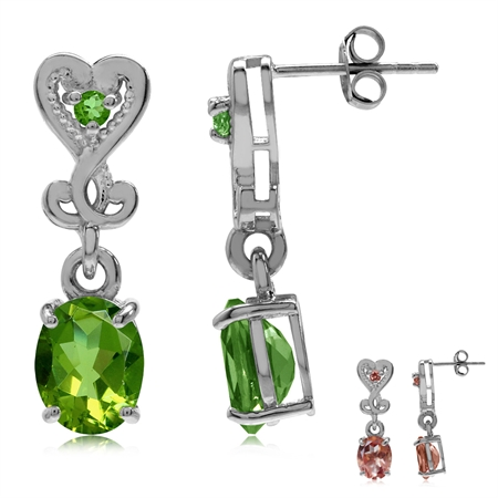 Synthetic Color Change Diaspore 925 Sterling Silver Heart Victorian Style Dangle Post Earrings