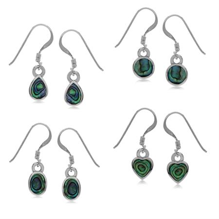 4-Pair Set Abalone/Paua Shell Inlay 925 Sterling Silver Drop Dangle Hook Earrings