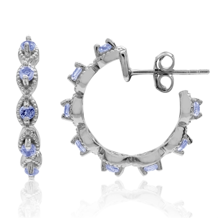 Genuine Tanzanite White Gold Plated 925 Sterling Silver Journey C-Hoop Earrings