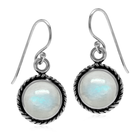 Natural Moonstone White Gold Plated 925 Sterling Silver Rope Dangle Hook Earrings