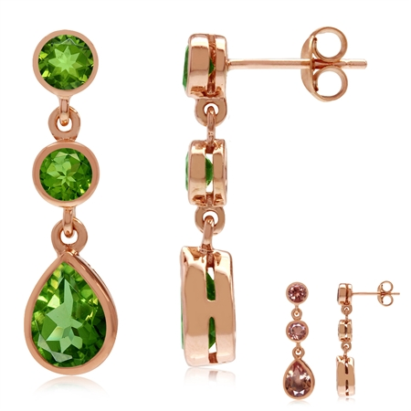 Synthetic Color Change Diaspore Rose Gold Plated 925 Sterling Silver Drop Dangle Earrings