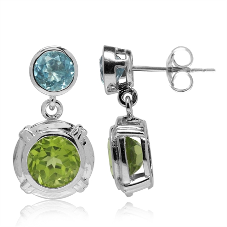 2.68ct. Natural Round Shape Peridot & Blue Topaz 925 Sterling Silver Dangle Post Earrings