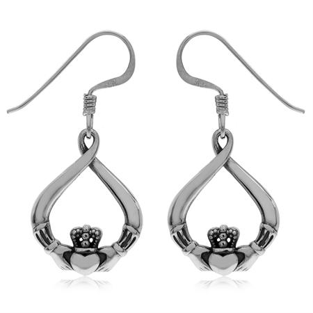 Antique Finish 925 Sterling Silver Irish Claddagh Drop Shape Dangle Hook Earrings