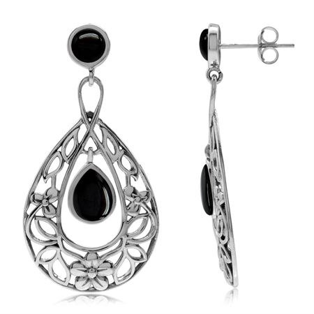 Created Black Onyx 925 Sterling Silver Flower & Leaf Filigree Drop Dangle Earrings