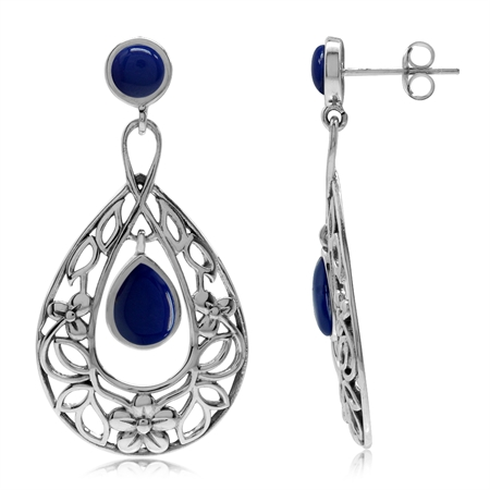 Created Lapis 925 Sterling Silver Flower & Leaf Filigree Drop Dangle Earrings