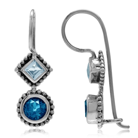 1.26ct. Genuine London Blue Topaz 925 Sterling Silver Bali/Balinese Style Hook Earrings