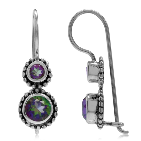 1.32ct. Mystic Fire Topaz Antique Finish 925 Sterling Silver Balinese Hook Earrings